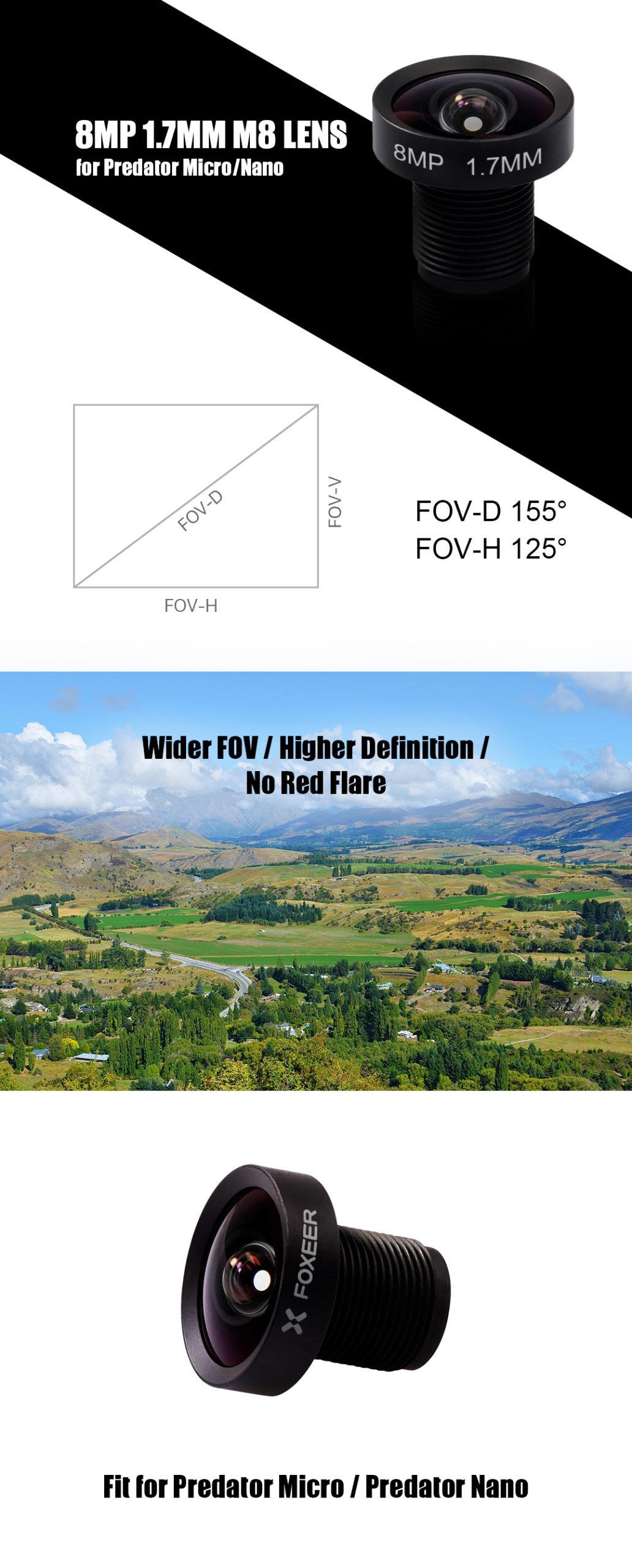 Lente Foxeer M8 1.7mm para Predator Micro y Nano