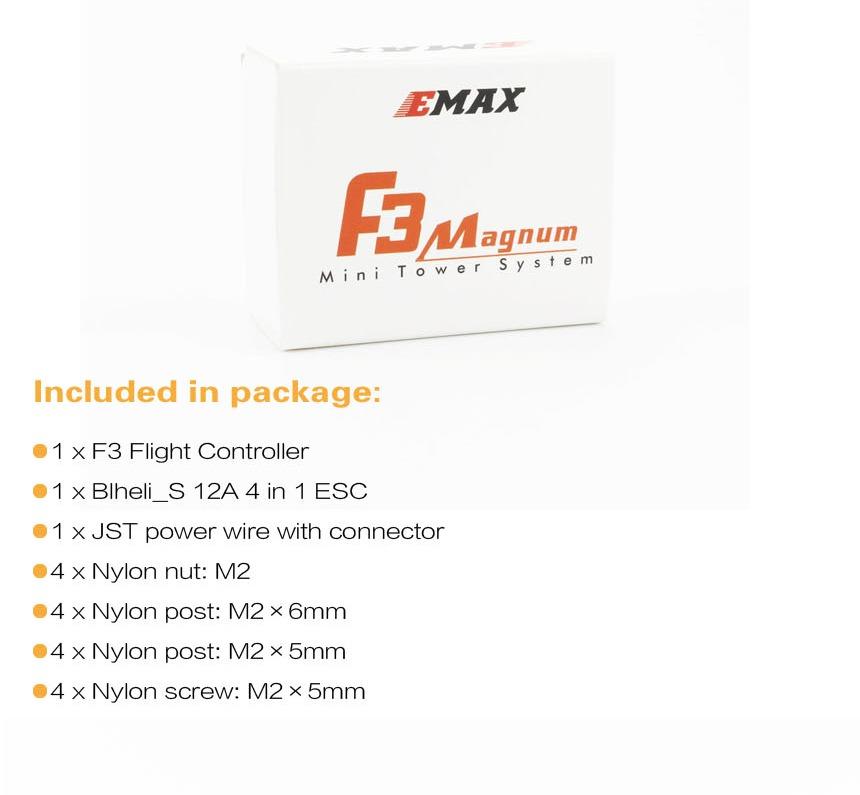 Mini Torre EMAX F3 Magnum 3-4S BLheli_S Bullet 12A 4 en 1 ESC y FC F3