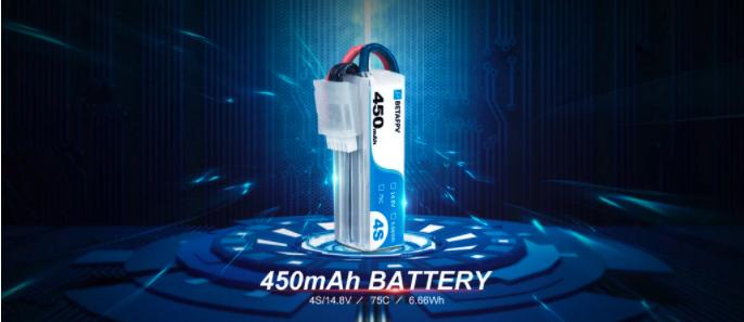 La batería de 450 mAh tiene 4S (14.8V) de alto voltaje y 75C de alta velocidad de descarga, viene en paquetes muy pequeños y livianos, que es completamente para las series Beta85X y Beta95X, incluyeBeta85X para GoPro y Beta95X para Gopro. La velocidad máxima de descarga es de 150 ° C, lo que le permite acelerar a toda velocidad en poco tiempo y realizar más acciones o trucos durante el vuelo.