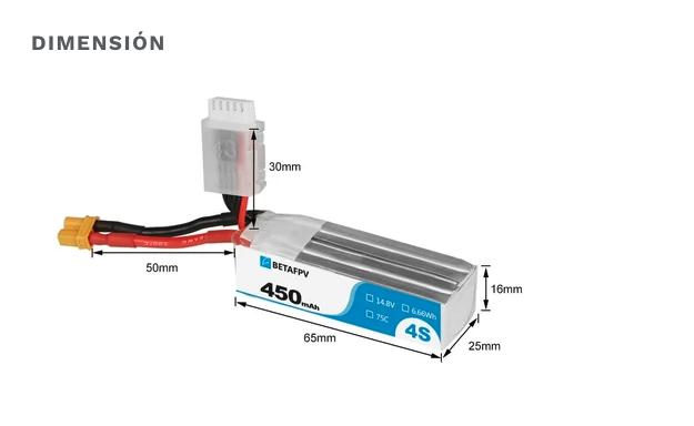 Baterías BetaFPV XT30 450mAh 4S 75C ( 2 piezas)